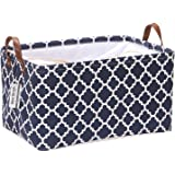 Sea Team Canvas Fabric Storage Basket Collapsible Geometric Design Storage Bin with Drawstring Cover and PU Leather Handles,