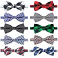 Dog Bow Ties, 10pcs KOOLMOX Dog Bowties, Dog Neck Ties with Adjustable Dog Bow Tie Collar, Plaid Puppy Bow Tie for Small Medi