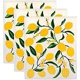 DII Swedish Dishcloth Set Cleaning Collection, 7.75x6.75, Lemons 3 Piece