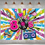I Love The 80s Party Backdrop Fabric 80's Party Decorations Back to The 1980's Party Banner Photo Booth Background for Hip Ho