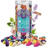 Jeteven 200 Pcs Backflow Incense Cones Waterfall Incense, 8 Mixed Natural Incenses Cones Sandalwood/Green Tea/Jasmine/Lavende