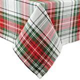 DII 100Percent Cotton, Machine Washable, Dinner and Holiday Tablecloth 52x52, Christmas Plaid, Seats 4 People