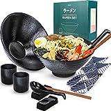 Arjust Ceramic Ramen Bowl Set - Large Ramen Soup Serving Bowls - Japanese Ceramic Bowl Set - 12 pc Microwavable Set for 2 peo