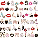 50 Pieces Women Makeup Charms Enamel Rhinestone Charms Colorful Rhinestone Pendant Lipstick Diamond Shoes Bag Charms for Wome