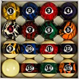 """Collapsar Deluxe 2-1/4"""" Billiard Pool Balls Marble-Swirl Style Billiards Ball Complete 16 Ball Set (Several Style Available)"""