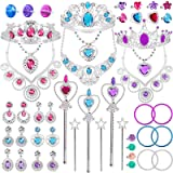 Tagitary 48 Pack Princess Pretend Jewelry Toy,Jewelry Dress Up Play Set for Girls Included Necklaces Wands Rings Earrings and