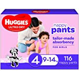 Huggies Ultra Dry Nappy Pants, Girl, Size 4 (9-14kg), 116 Count, Packaging May Vary, Pack of 2 x 58