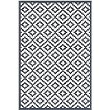 Green Decore Nirvana Premium Grade Stain Proof Reversible Plastic Outdoor Rug (180 X 270 cm, Charcoal Gray/White)