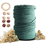 Macrame Cotton Cord 5mmx109 Yard 4 Strand, Artstudy Natural Handmade Blackish Green 4 Twisted Cotton Rope for Wall Hanging We