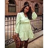 The Drop Women's Smoke Green Long Sleeve V-Neck Mini Dress by @highlowluxxe