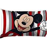 Jay Franco Disney Mickey Mouse Stripes 1 Pack Pillowcase - Double-Sided Kids Super Soft Bedding (Official Disney Product)