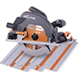 Evolution Power Tools R185CCSX Multi-Material Circular Saw and Track (Combination Pack), 1600 W, 230 V, 185 mm