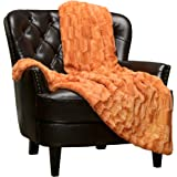 (Orange) - Chanasya Super Soft Fuzzy Fur Elegant Faux Fur Rectangular Embossed Pattern With Fluffy Plush Sherpa Cosy Warm Ora
