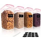 Vtopmart Cereal Storage Container Set, BPA Free Plastic Airtight Food Storage Containers 135.2 fl oz for Cereal, Snacks and S