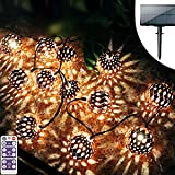 Moroccan Solar Lights Outdoor,Upgrade Brightness Outdoor Decorative String Lights,Decorative Big Mosaic Ball Hanging String L