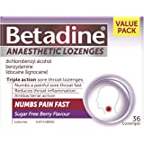 Betadine Anaesthetic Lozenges - Triple Action Sore Throat Lozenges - Numbs a Painful Sore Throat Fast, Berry Flavour, 36 Pack