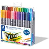 STAEDTLER 3200 TB72 Design Journey Double-Ended Fibre-Tip Pens with Two Nibs - Narrow and Wide, Pack of 72