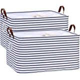 Hinwo 2-Pack Extra Large Canvas Fabric Storage Baskets with Handles, 70L Oversized Storage Bins, Collapsible Storage Box, Clo