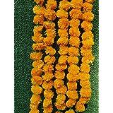 Wishbox-AU 5 Feet Long Strands Orange Marigold Garlands,Flower Garland, Indian Wedding Flowers, Diwali Marigold, 5 Pcs Party