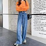 mengshiji High-Waisted Skinny Wide-Legged Pants Women's Jeans Straight Loose-Fitting Drag Pants Long Pants