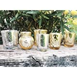 Just Artifacts Silver and Gold 8pcs Assorted (Pattern Size) Mercury Glass Votive Tealight Candle Holder Set - Mercury Glass V