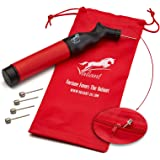 Sports Ball Pump Inflator with 5 Needles (Pin) and Pouch, Dual Action Hand Held Portable Air Ball Pump with pins to Inflate A