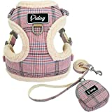 Didog Soft/Cosy Dog Vest Harness and Leash Set with Cute Bags,Escape Proof Breathable Mesh Dog Harness,Classic Plaid/Back Ope