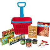 "Melissa & Doug Fill & Roll Grocery Basket Play Set, Play Food, Durable Construction, 11 Pieces, 22"" H x 10.25"" W x 11.75"" L"