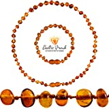 Baltic Amber Necklace and Bracelet Gift Set (Unisex Cognac 12.5 Inches/5.5 Inches) - Certified Premium Quality Raw Baltic Sea