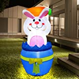 Zcaukya Easter Inflatable Decoration 4 FT Inflatable Easter Bunny Holding Carrot with Build-in LEDs Blow Up for Easter