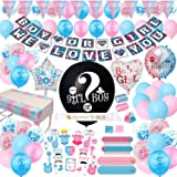 Gender Reveal Party Supplies - (200 Pieces) 36 Inch Reveal Balloon, Boy or Girl Banner, Mommy To Be Sash, Baby Shower Decorat