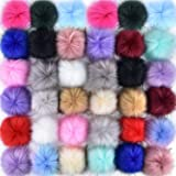 Coopay 36 Pieces Faux Fox Fur Pom Pom Balls DIY Fur Fluffy Pom Pom with Elastic Loop for Hats Keychains Scarves Gloves Bags C