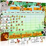 Large Safari Animal Magnetic Star/Reward Chart for Kids: Encourages Good Behaviour and Customisable with Choice of Magnets an