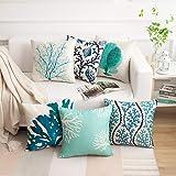 famibay Decorative Pillow Cover Ocean Park Theme Square Cotton Linen Throw Pillow Case Cushion Cover 18 x 18, Cotton Linen, O