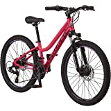 Schwinn High Timber Mountain Bike, Aluminum Frame & Disc Brake, 24-Inch Wheels, Coral