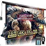 "100"" Motorized Projector Screen - Indoor and Outdoor Movies Screen 100 inch Electric 16:9 Projector Screen W/Remote Control"