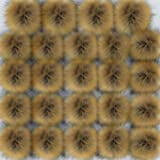 Coopay 24 Pieces Faux Fox Fur Pom Pom Balls DIY Fur Fluffy Pom Pom with Elastic Loop for Hats Keychains Scarves Gloves Bags C