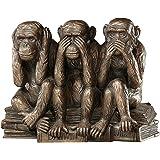 The Hear-No, See-No, Speak-No Evil Monkeys Statue in Faux Bronze [Kitchen]