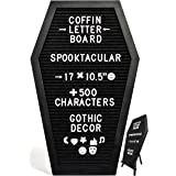 Black Felt Coffin Letter Board - Gothic Decor Message Board for Home - 17x10.5 Inches, 500 White Changeable Characters Emojis
