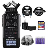 Zoom H6 All Black 6-Track Portable Audio Recorder Bundle with 64GB microSDHC Memory Card with Adapter, Blucoil 3-FT USB 2.0 T