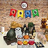 Magical Wizard Party Candy Bar Decoration Kit, Sign, Banner, Stickers and Candy Labels for Harry Potter Themed Birthday Baby