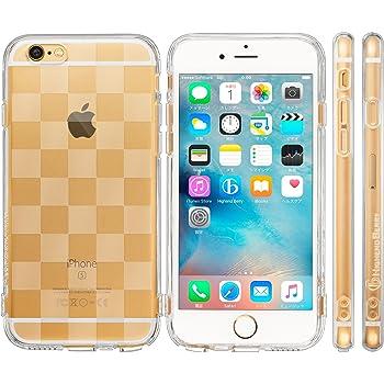 Highend berry iPhone6s Plus / iPhone6 Plus 5.5インチ 落下防止 用 ストラップ ホール 保護キャップ 一体型 ソフト TPU ケース チェッカード クリア IP6C_5.5_HB_TPU-chk
