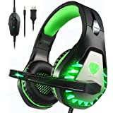 Pacrate Stereo Gaming Headset for PS4, PS5, Xbox One, PC with Noise Cancelling Mic - Surround Sound Gaming Headphones - Soft