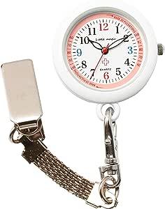 【リトルマジック】[自分で電池交換可][軽量化] 3種のチェーン ナースウォッチ [ 日本製ムーブメント] [ 電池容量最長3年] [ 3気圧防水 ] [ 蓄光 ] [ セラミック&クリア塗装 ]シンプル 懐中時計 防水 時計 看護師 男女兼用 (便利チェーン2種 リール付き)(ピンク NS30)