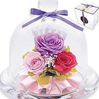 liLYS épice プリザーブドフラワー ガラスドームアレンジ バラ 3輪 シンプル型 (エレガントパープル)