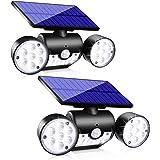 Upgrade Solar Motion Sensor Lights Outdoor, Super Bright LED Lamp IP65 Waterproof 360° Adjustable Solar Powered Wall Light Du
