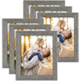 TWING Rustic Picture Frames Distressed Wood Pattern High Definition Plexiglass Photos Frame for Table Top and Wall Display 6