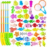 AUUGUU 58 Pcs Magnetic Fishing Toys Game - 4 Poles, Nets & 50 Floating Fishes for Kids Bathtub Water Table Pool Party Floor,