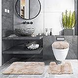 "3 Piece Thicken 0.4"" Bath Rugs Set, Bath Rug + Contour Mat + Toilet Seat Cover, Super Long Soft Microfiber Water Absorbent &"