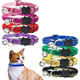 KUDES 8 PCS/Set Bling Cat Collars Breakaway with Bell for Kitten Puppy Rabbit and Other Small Pet Animals, Adjustable from 7.